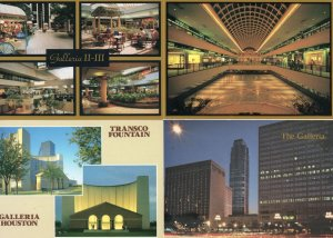 Transco Fountain Galleria Houston Shopping Mall Night 4x USA Postcard s