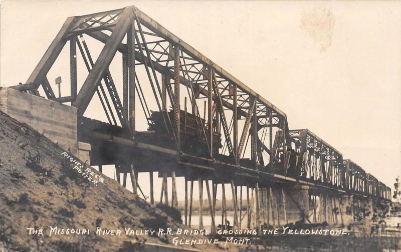 D88/ Glendive Montana RPPC Postcard c1910 Yellowstone River MRV Railroad Bridge