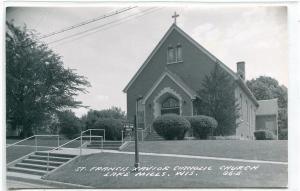 St Francis Xavier Catholic Church Lake Mills Wisconsin Real Photo RPPC postcard