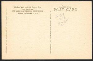 Pepper Tree & Mission Well Mission San Juan Capistrano California Unused c1930s