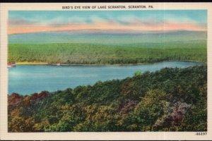 Pennsylvania SCRANTON Bird's Eye View of LAKE SCRANTON - LINEN