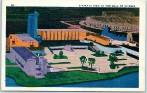 1933 Chicago World's Fair Postcard Airplane View of the Hall of Science Unused