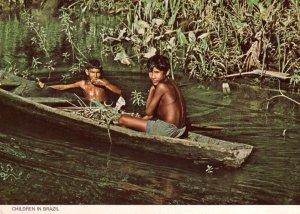 Children In Brazil Canoe Boat 1980s Oxfam Postcard