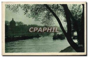 Old Postcard Paris Towards the Pont des Arts and & # 39Institut