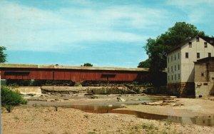 Bridgeton, Indiana, IN, Covered Bridge, Chrome Vintage Postcard g8319