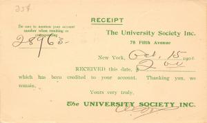 Wolmesdorf PA~Wm F Mclean~Poultry Farmer~New York City~Univ Society Postal Rcpt