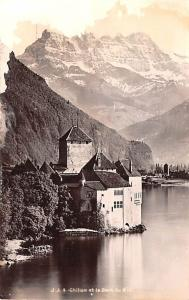 Switzerland Old Vintage Antique Post Card Chillon et la Dent du Midi Unused