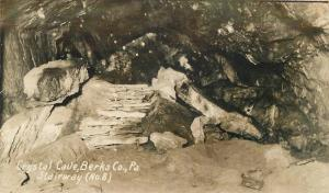 Berks County Pennsylvania C-1910 Crystal Cave Stairway #8 RPPC real photo 7202
