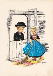 Dutch Girl Sweeping and Dutch Boy Smoking Pipe Signed Frankie