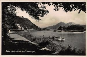 Rolandesck mit Drachenfels Esplanade River Boat Panorama Postcard