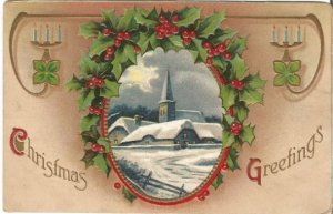 Snow Covered Church Scene with Frame of Holly and Berries Christmas Greetings