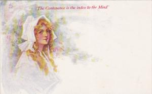 Blond woman wearing a bonnet, The Contenance is the index to the Mind!, 00-10s