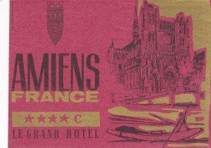 France Amiens Le Grand Hotel Vintage Luggage Label sk1032