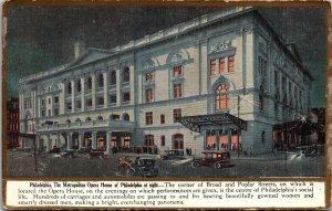 Postcard PA Pennsylvania Philadelphia Metropolitan Opera House at Night Unposted