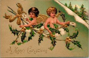 Vtg Carte Postale Embssed & Doré Noël Anges Houx non Utilisé