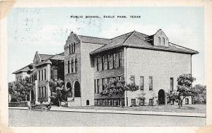 D40/ Eagle Pass Texas Tx Postcard c1940s Public School Building Linen