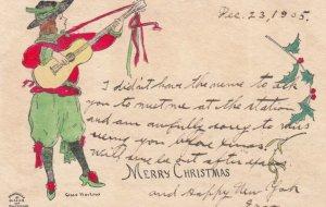 AS Grace Harlow: CHRISTMAS, 1905; Man playing guitar, Merry Christmas