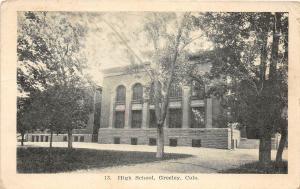 D30/ Greeley Colorado Co Postcard c1909 High Schooll Building