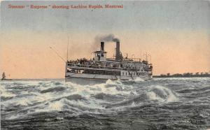 Steamer ´Empress shooting Lachine Rapids Montreal in harbor