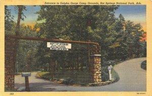 AR, Arkansas GULPHA GORGE CAMP GROUNDS ENTRANCE~Hot Springs Park c1940s Postcard
