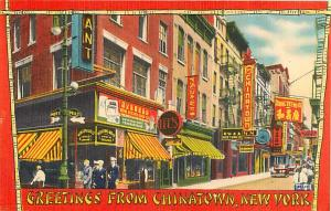 Street Scene Greetings from Chinatown New York NY Linen