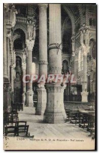 Postcard Old Lyon Basilica of Fourviere N D Nave Side