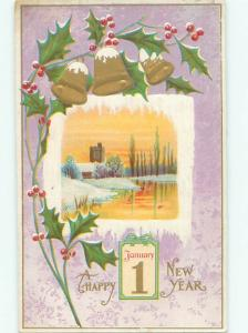 Divided-Back NEW YEAR SCENE Great Postcard AA2079