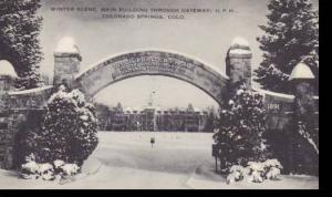 Colorado Colorado Springs Winter Scene Main Building Through Gateway Union Pr...