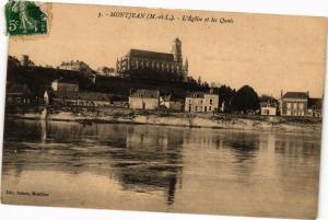 CPA MONTJEAN - L'Église et les Quais (207444)