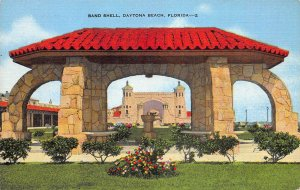 Band Shell, Daytona Beach, Florida, early linen postcard, unused