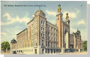 Nice Richmond, Virginia/VA Postcard, Mosque/Civic Center