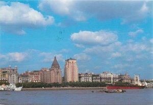 Postcard China Shanghai bay area front bulding skyline ships boat barges
