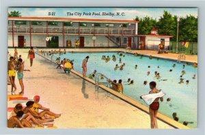 Shelby NC, The City Park Swimming Pool, Linen North Carolina c1940 Postcard