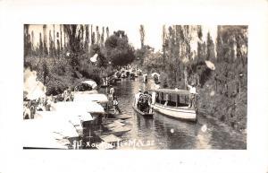 Xochimilco (Mexico City)~Canal Boats: Little Lolita~Gondolier & Oar RPPC 1940s
