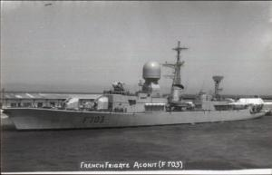 French Naval Ship Frigate Aconit F703 Real Photo Postcard
