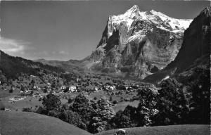 Switzerland Grindelwald mit Wetterhorn Village Mountain Panorama Postcard