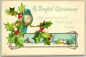 1918 A JOYFUL CHRISTMAS Embossed Greetings Postcard / Bluebird on Holly Branch