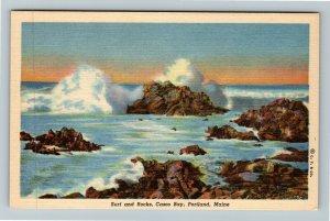 Portland ME-Maine, Surf And Rocks, Casco Bay, Linen Postcard