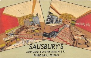 E38/ Findlay Ohio Roadside Postcard Linen Salisbury's Restaurant Cafe Interior