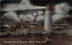 Highland Lighthouse Moonlight Night North Truro Cape Cod Massachusetts postcard