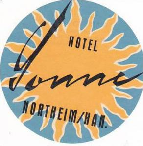 GERMANY NORTHEIM HOTEL SONNE VINTAGE LUGGAGE LABEL