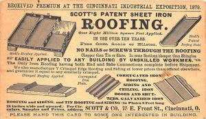 Cincinnati OH Scott's Sheet Iron Roofing Pioneer 1873 Postal Card