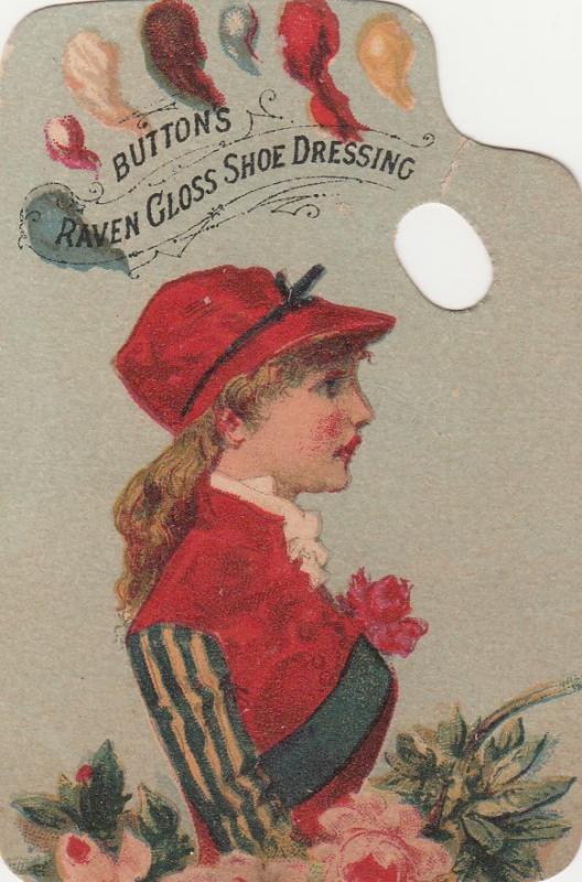 Victorian Die Cut Trade Card - Button Raven Gloss Shoe Dressing blank back
