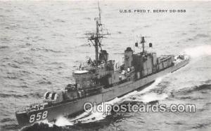 US Atlantic Fleet Postcard Post Card USS Fred T Berry DD858