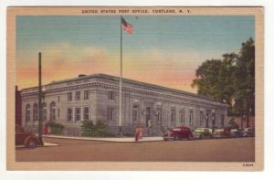 P546 JLs 1930-45 linen old cars united states post office cortland new york