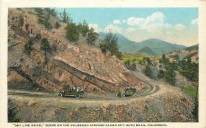 Autos Canon City Colorado 1920s Skyline Drive Postcard Hyde Teich 12490