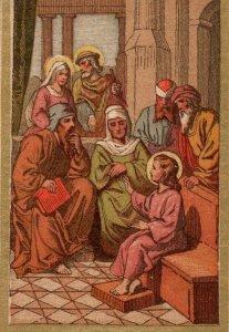1880s90s Dresden Jesus Teaching In Temple German Religious P222