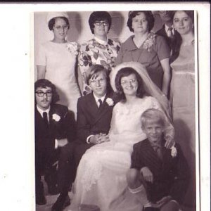 3.5X4.5 inch B&W Photograph, Wedding Party Canada 1969