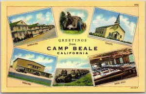 Vintage 1940s CAMP BEALE California Postcard Multi-View Army Base WWII Linen