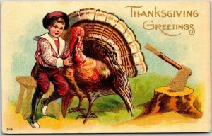 1909 THANKSGIVING GREETINGS Embossed Postcard Boy About to Execute Turkey